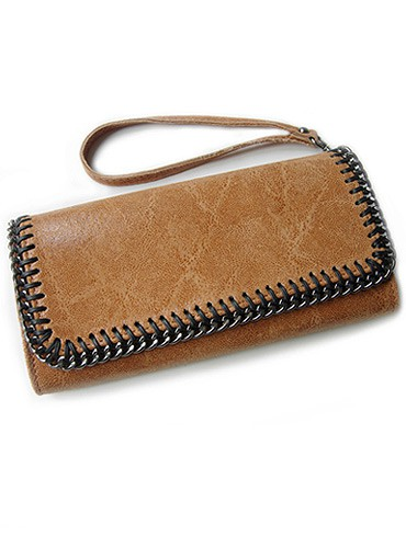 leather chain purse brown