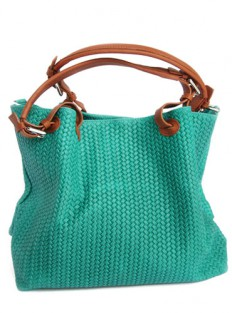 braided leather shopper green